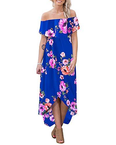 The Shoulder Ruffle Party Dresses Beach Maxi Dress Blue X-Large ()