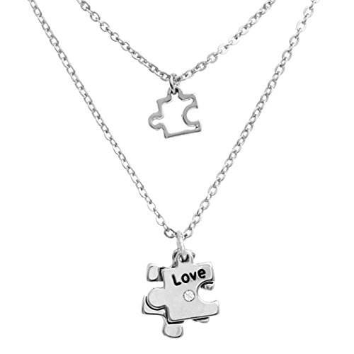 Rosemarie Collections Women's Double Charm Necklace Set Autism Awareness Puzzle - Macys Spectrum