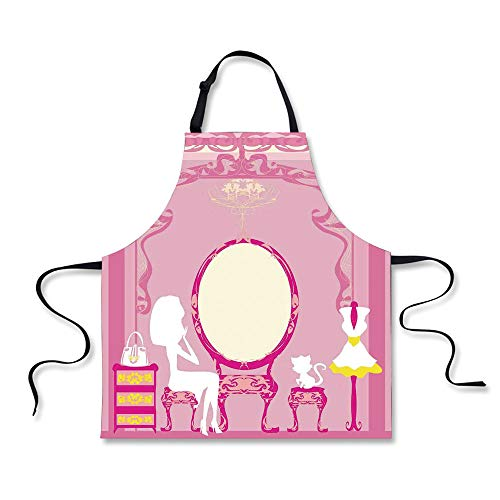 BBQ Apron,Girls,Lady Sitting in Front of French Cosmetic Make up Mirror Furniture Dressy Design,Pink Yellow, Apron.29.5''x26.3'' by iPrint