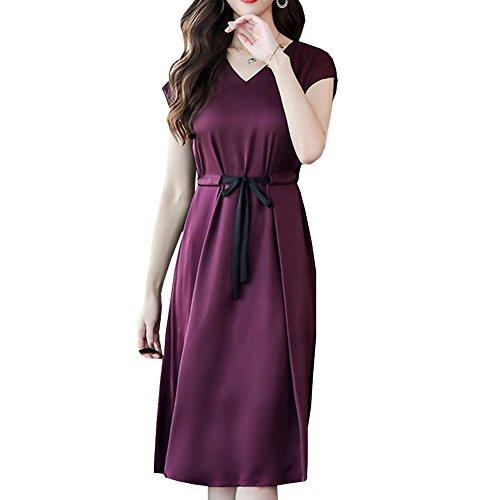 Midi Seide Kleid E girl Kleider Damen Abendkleid Cocktail Violett Übergröße S8815 Tierdruck rWqgInfq0