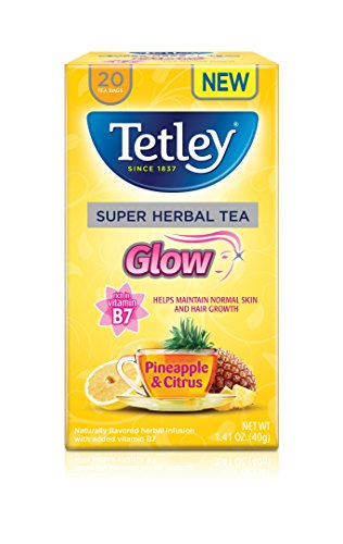 Tetley Super Herbal Tea, Glow, Pineapple & Citrus, 20 Tea Bags (Pack of 6)