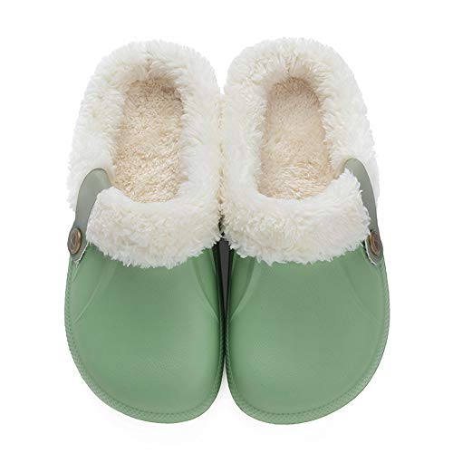 Fleece Lined Winter Indoor Outdoor Non-Slip House Home Slip on Garden Shoes for Men Women Green 37-38 ()