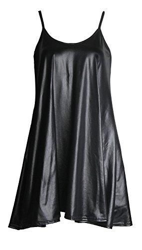 Forever Women's Scoop-Neck Solid Sleeveless Short Straight Dress, Wetlook Black, ()