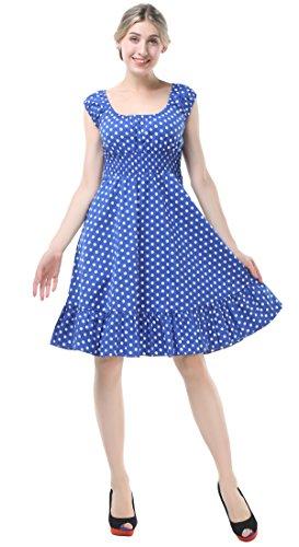 Blue Smocked Dress (BI.TENCON Women's Retro 1950s Blue Polka Dot Cap Sleeve Smocked Vintage Swing Party Dress XL)