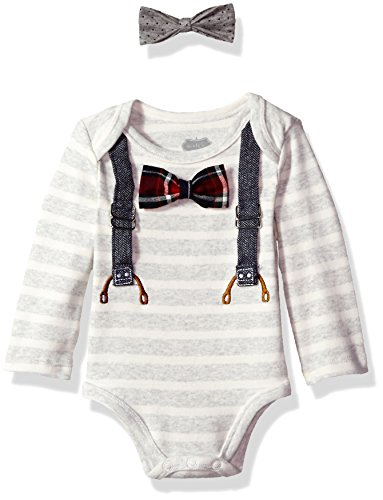 Mud Pie Baby Boys' Long Sleeve Striped Crawler with Interchangable Bow Ties, Gray, 0-3 MOS (Bow Tie Onesie)