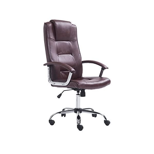 Sedie Dirigenziali Per Ufficio.Homcom Poltrona Sedia Da Ufficio Dirigenziale Sedia Regolabile Girevole 62 X 68 X 115 123cm Marrone