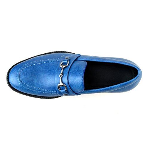 Zapatos De Holgazán Para Hombre Lucius An Slip On Zapatos De Ópalo Llano Zapatos De Conducción Mocasines Bit Apt366-1 Azul Liso