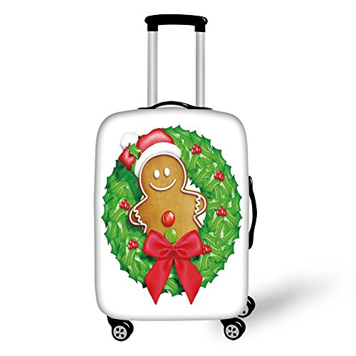 Travel Luggage Cover Suitcase Protector,Gingerbread Man,Cartoon Christmas Wreath with Gingerbread Man Funny Happy Season Decorative,Green Red Light Brown,for Travel (Christmas Wreath Kohls)