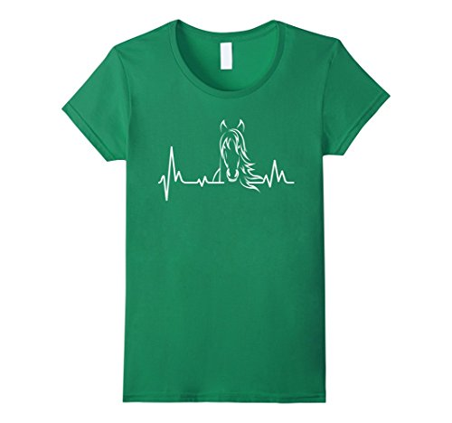 Women's Horse Heartbeat Tshirt - Horse Lovers Shirt XL Kelly Green