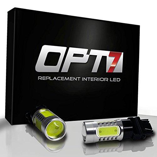 (OPT7 3157 T-25-4 Nova Plasma LED Bulb - Reverse Signal Backup Light Bulbs - White)