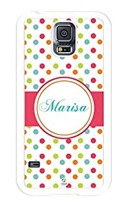 iZERCASE Samsung Galaxy S5 Case Personalized Colorful Polkadots Pattern RUBBER CASE - Fits Samsung Galaxy S5 T-Mobile, Sprint, Verizon and International (White)