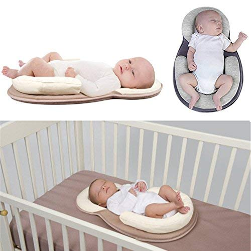 AMZT – Baby Bed Mattress - Newborn Sleep Positioner Infant Body Support Crib Bumper Nursing Pillow Anti Roll Sleeping Cushion (Beige)