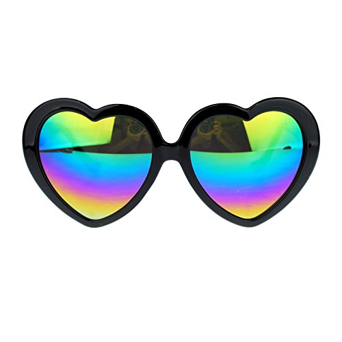 Womens Mirrored Rusta Mirror Lens Plastic Frame Heart Shape Sunglasses (Black) -