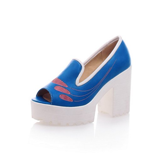 VogueZone009 Womens Open Peep Toe High Heel Platform Chunky Heels PU Soft Material Solid Sandals Blue