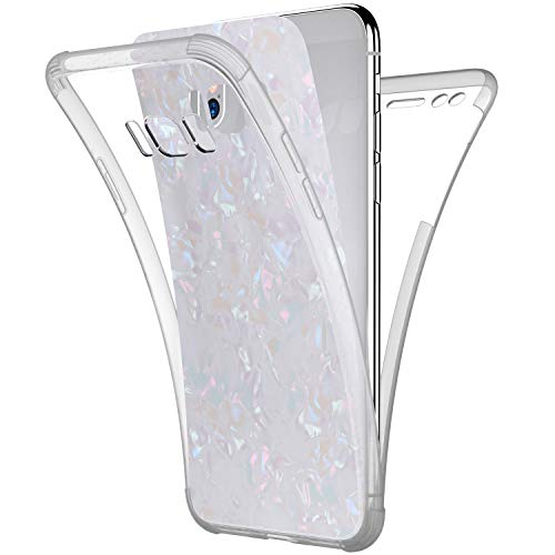 Price comparison product image Case for Galaxy S8, [Full-Body 360 Coverage Protective] Crystal Clear 2in1 Bling Glitter Shell Pattern Front Back Full Coverage Soft TPU Silicone Rubber Case Cover for Galaxy S8 Silicone Case, White