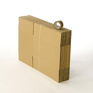 20 cajas de cartón para mudanza, cajas estándar, 1 cinta de embalaje incluida.: Amazon.es: Oficina y papelería