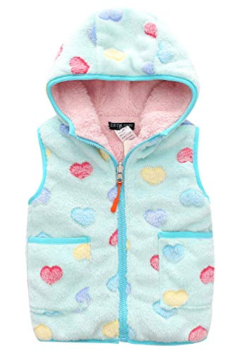 Happy Cherry Big Girls Warm Vest Cute Cartoon Bear Zipper Up Hooded Slant Pockets Soft Fleece Waistcoat 7-8T Blue