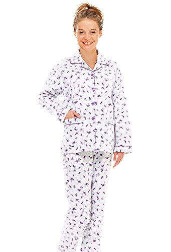 GLOBAL Women's Plus-Size Comfortable Long Sleeve Cotton Pajama Set, Purple (XXXL)