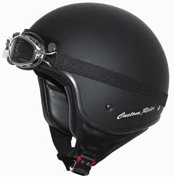 MT Custom Rider Frontal Descubierto Moto Casco de Motocicleta Moto Negro Mate, Negro
