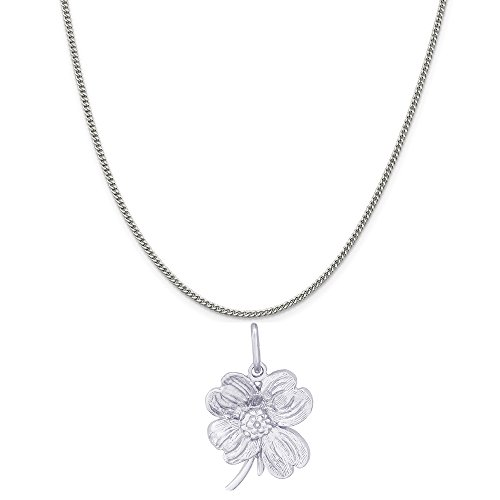 (Rembrandt Charms Sterling Silver Dogwood Flower Charm on a Sterling Silver Curb Chain Necklace, 18