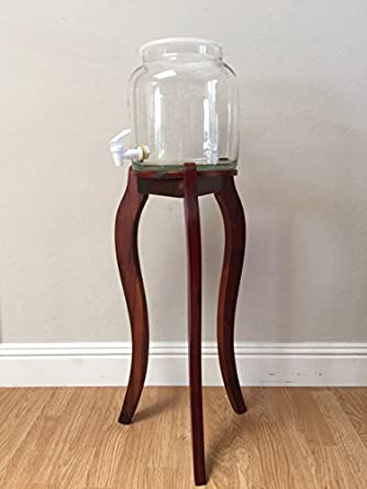 Glass Water Dispenser With Decorative Natural Wooden Floor