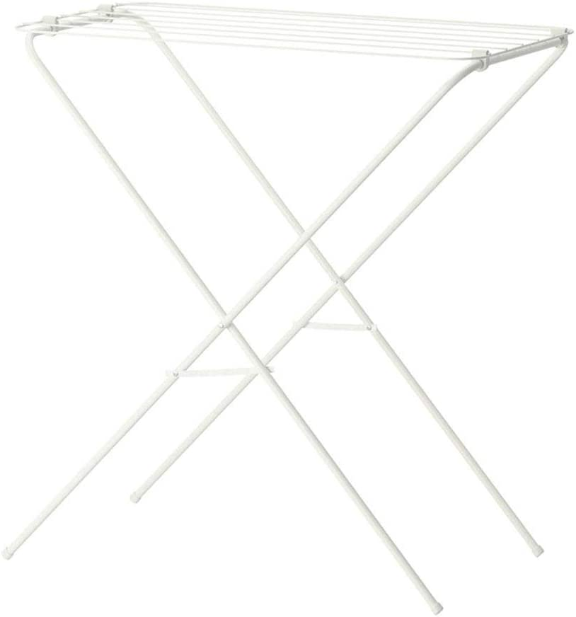 Chenbz Drying Racks Folding Racks Floor-Standing Simple Hangers Balcony Hangers Clothes Airer Drying Rack (Color : White, Size : 79x40x82cm)