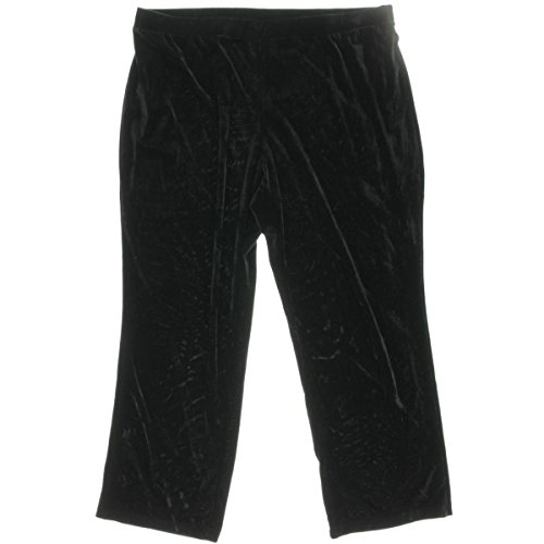 NY Collection Womens Plus Velvet Bootcut-Leg Pants Black 2X