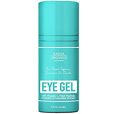 Radha Organics Eye Gel for Dark Circles, Puffiness, Wrinkles and Bags - The Only Eye Cream that is 100% Natural - made with 18% Vitamin C, Plant Peptide Complex & cucumber extract