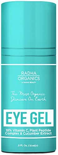 Radha Organics Eye Gel for Dark Circles, Puffiness, Wrinkles and Bags - Eye Cream made with 18% Vitamin C, Plant Peptide Complex & cucumber extract - 100% Natural