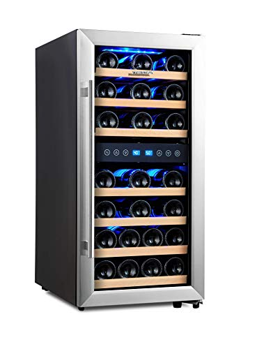 - Phiestina Dual Zone Wine Cooler Refrigerator - 33 Bottle Free Standing Compressor Fridge and Chiller for Red and White Wines - 16'' Glass Door Wine Refrigerator with Digital Memory Temperature Control