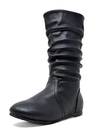 DREAM PAIRS Big Kid BLVD-K Black Pu Girl's Knee High Boots Size 4 M US Big Kid