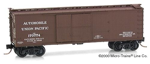 40' Double Door Box Car (Micro Trains N 41010: 40' Double-Sheathed Wood Box Car,1-1/2 Door with Vertical Brake Wheel, Union Pacific UP#170774)