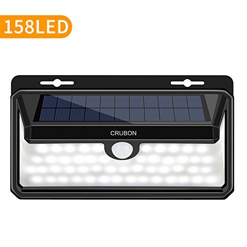 CRUBON Solar Lights Outdoor, 158 LED Motion Sensor Waterproof 270 Wide Angle Solar Powered Security Wireless Wall Lights with Flame LED Bulb for Garage,Patio,Garden,Driveway,Backyard by