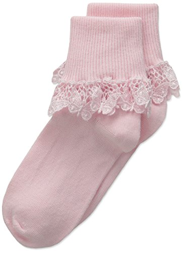 Pink Butterfly Lace (Country Kids Little Girls' Butterfly Lace 1 Pair Pack, Pink, 4-7 Years (Sock Size 7-8 / Shoe Size 9-1))