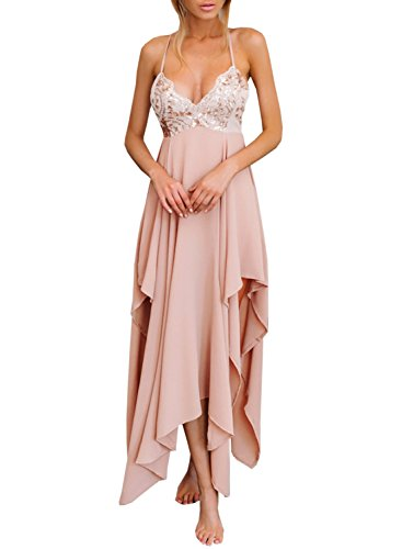 Futurino Women Deep V Spaghetti Strap Cross Back A-line Maxi Sequin Long Dress, Pink, M/US6-US8 Cross Back Dress