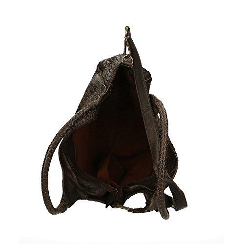 cuir bandoulière en Italy Marron CTM Vintage à Cm avec Femme véritable foncé in bandoulière made Style Sac Tressé 38x26x15 gwqpCvpHx