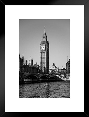 Poster Foundry London Big Ben House of Parliament in Black and White Photo Art Print Matted Framed Wall Art 20x26 ()