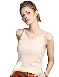Fincati Cashmere Sweater Camisole Vests Top 2018 Women Autumn Winter Spaghetti Strap Soft Sexy Slim V Neck Sales Light Camel L