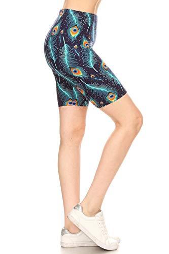Leggings Depot LBK-R519-S Peacock Feather Printed Biker Shorts, -