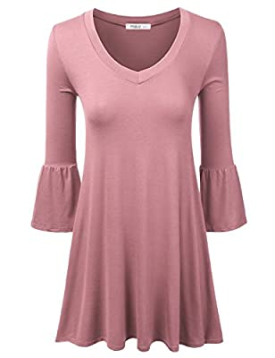 Doublju Bell Sleeve Deep V-Neck Loose Fit Flared Dress (Made In USA / Plus size available)