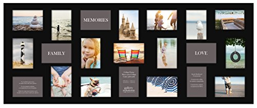 Gallery Solutions Flat 21 Opening Collage Wall Frame 4x6 Images Mat, Black by Gallery Solutions