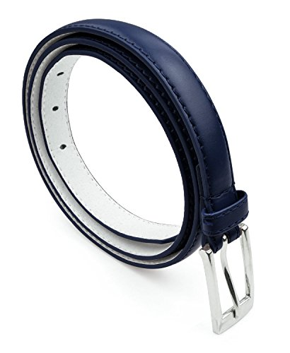 Womens Skinny Leather Belt with Silver Polished Square Belt Buckle - Solid Color PU Leather Belts by Belle Donne - Navy Small by Belle Donne