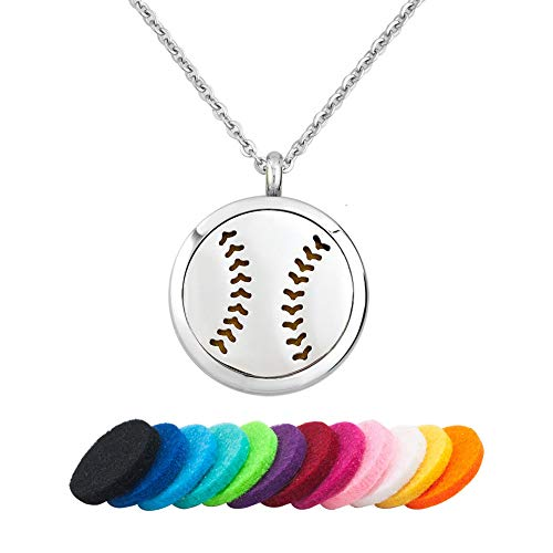 CLY Jewelry Aromatherapy Essential Oil Diffuser Necklace Stainless Steel Locket Pendant Necklace Baseball with Colorful Refill Pads Sporty Gift for Women Men Girl Boy Birthday Mother's Day Christmas