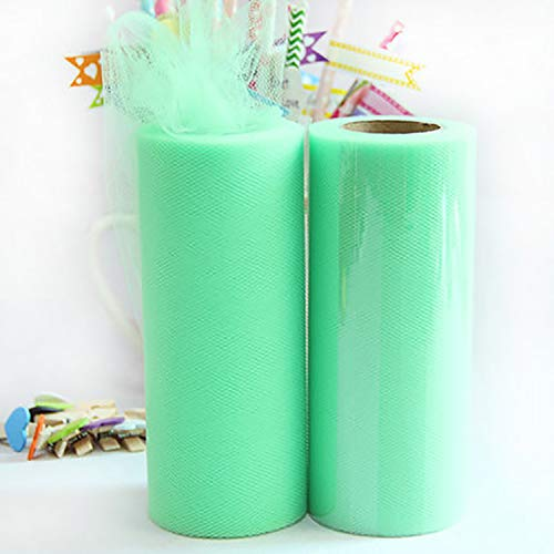 Miao Express Tulle Roll 6 inch 22M Gauze Fabric Reel Tutu DIY Party Flower Ball Skirt Gift Wrap Wedding Background Decor Baby Shower Supplies,Mint Green