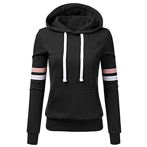 Ulanda Womens Casual Hoodies Sweatshirt Color Block Long Sleeve Hooded Tops Jumper Pullover with Pockets (S, Stripe-Black) ()