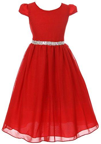 Little Girls Dress Short Sleeve Chiffon Rhinestone Belt Holiday Party Flower Girl Dress Red Size 2 (K64K20) ()