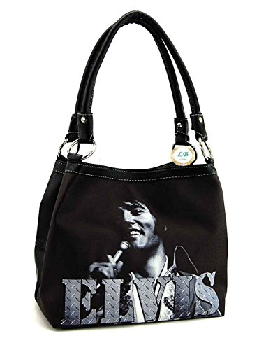 Elvis Presley Black Leather (Elvis Presley Medium Purse, Smiling ELVIS (Black NY))