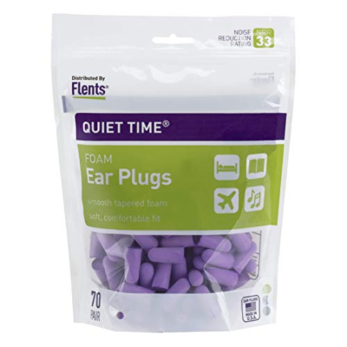 Flents Quiet Time Ear Plugs/Earplugs (70 Pair Bonus Pack) NRR 33