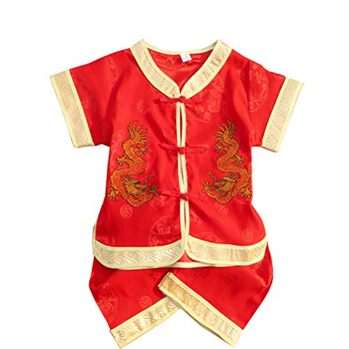 Happy Sky Chinese Style Dragon New Year Set of Children's Clothing Short Sleeved Tang Suits and Pants Baby Clothes, Two Color (1-2 Year, ()