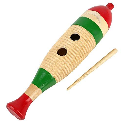 Wooden Guiro Kids Music Hand Painted Wooden Big Fish Shape Guiro Fun Instrument Rhythm Percussion Guiro Shaker (Big) (Wood Guiro Shaker)